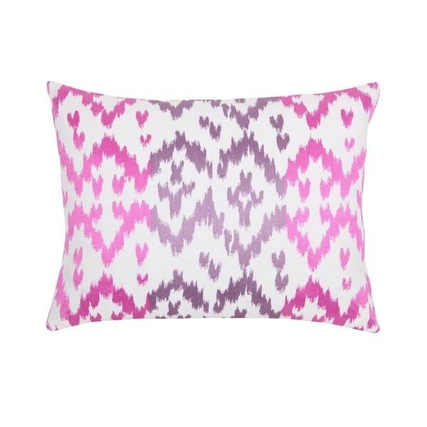 Ikat Dec White/Pink/Purple Cotton/Linen Down-filled South-American Motif Throw Pillow