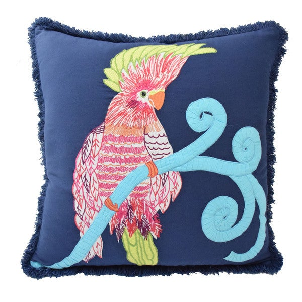 Pajaro Multicolored Cotton Throw Pillow