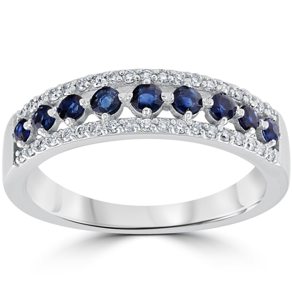 14k White Gold 5/8 cttw Blue Sapphire & Diamond Wedding Ring Womens Anniversary Band (I-J, I2-I3)