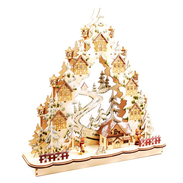 Illuminated White Christmas Village Decor