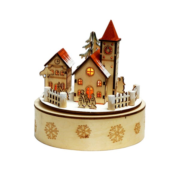 Christmas Village Wood Music Box With Lighting