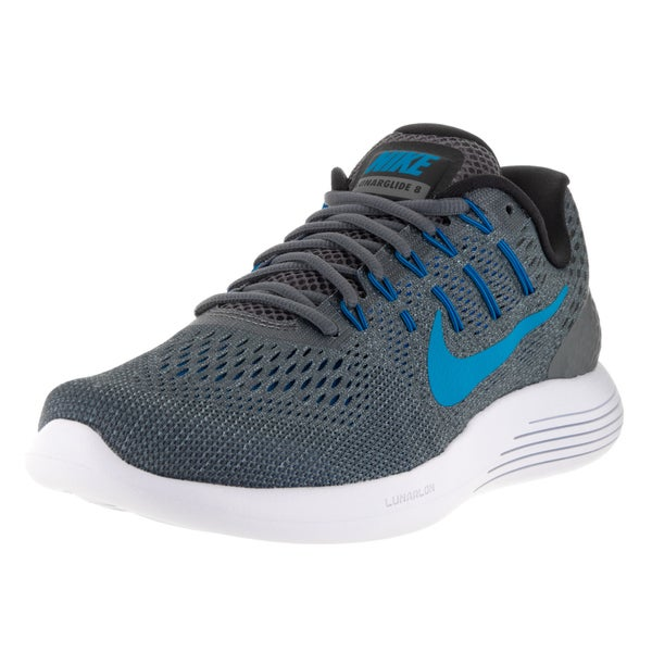 Nike Men's Lunarglide 8 Dark Grey/Blue Glow/Blk/Bl Gry Running Shoe