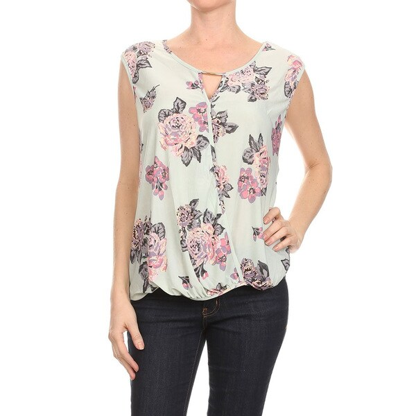 Women's Sleeveless Floral Surplice Polyester/Spandex Tank Top