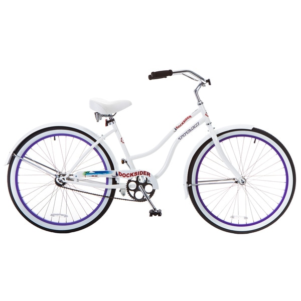 Docksider Women's White and Lavender Beach Cruiser Bicycle (26 in.) 22190621