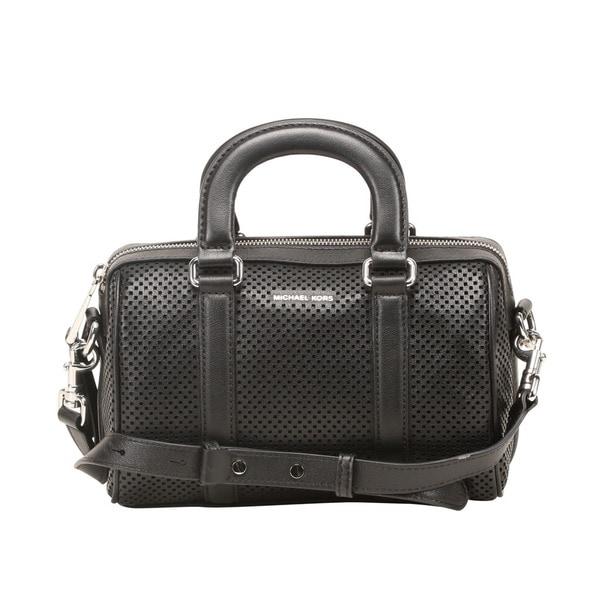 Michael Kors Libby Small Black Perforated Leather Satchel Handbag
