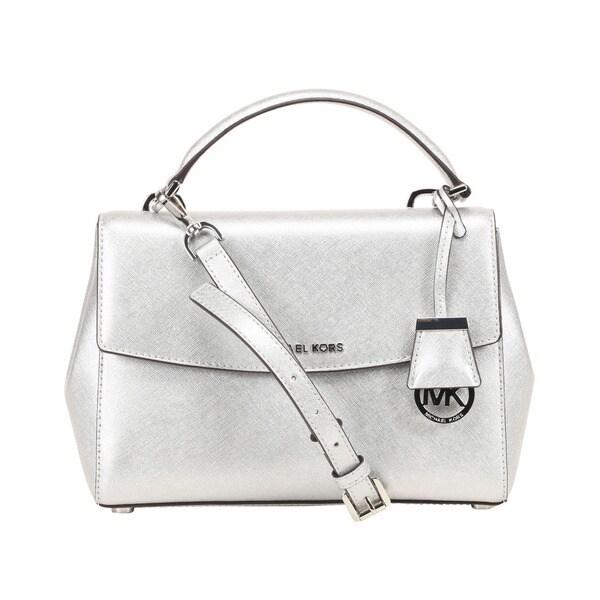 Michael Kors Ava Small Saffiano Leather Silver Satchel