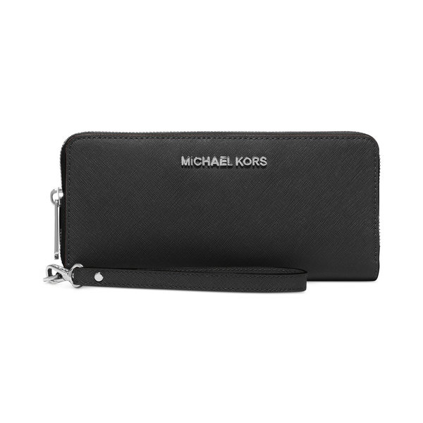 Michael Kors Black Leather Continental Wristlet Wallet
