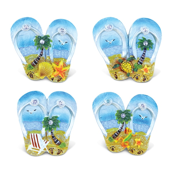 Puzzled 'Flip Flops' Multicolor Resin Refrigerator Silver Beach Magnets (Pack of 4)