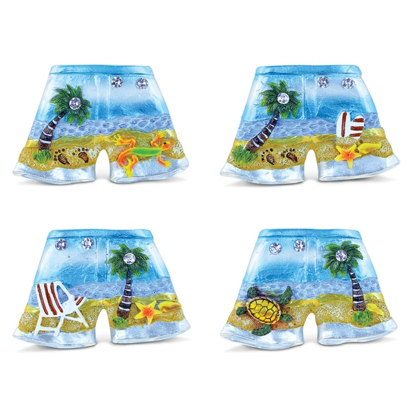 Puzzled Silver Resin Beach Pants Refrigerator Magnet (Pack of 4)