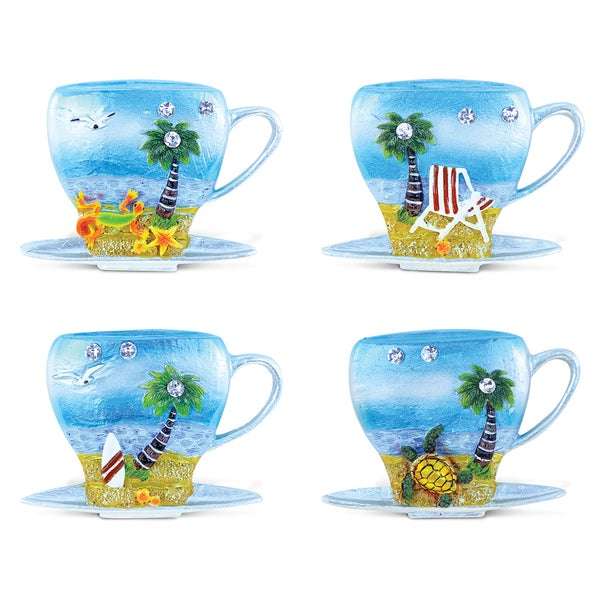 Puzzled Multicolored Resin Cup and Silver Beach Refrigerator Magnet (Pack of 4) 22191270