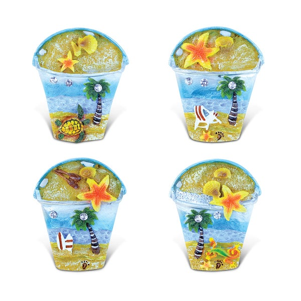 Puzzled Silver Resin Beach Bucket Refrigerator Magnet (Pack of 4)