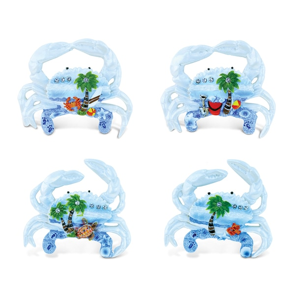 Puzzled Crab Multicolor Resin Refrigerator Blue Sand Magnets (Pack of 4) 22191301