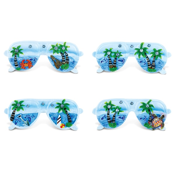 Puzzled Sunglass Blue Sand Resin Refrigerator Magnets (Set of 4) 22191375