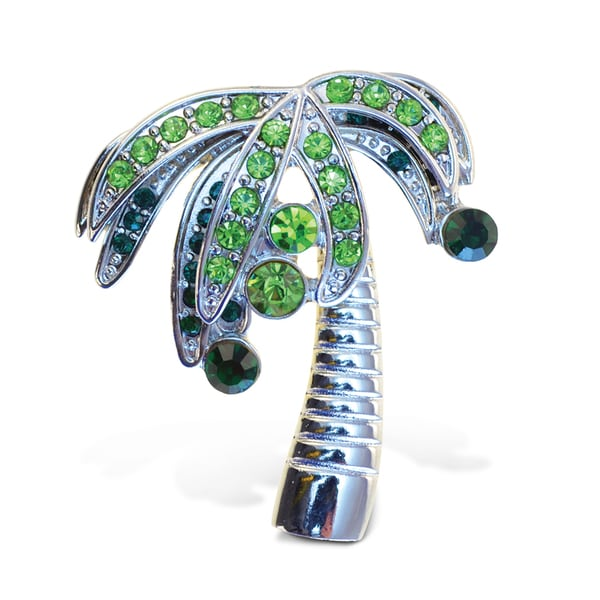 Puzzled Metal Palm Tree Refrigerator Sparkling Magnets with Crystals 22191402