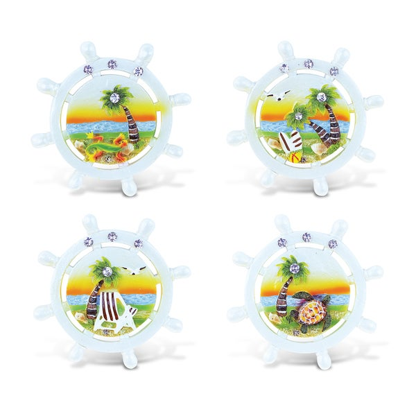Puzzled Wheel Multicolor Resin Refrigerator Sunset Magnets (Pack of 4)