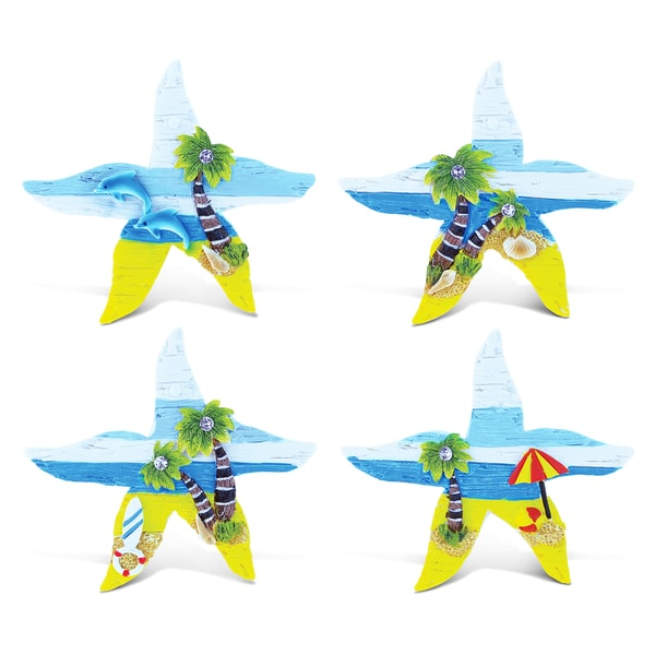 Puzzled Inc. Sea Star Beachwood Multicolored Resin Refrigerator Magnet (Pack of 4)