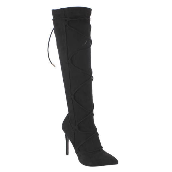 Anne Michelle Women's ED58 Black Knee-high Lace Up High Stiletto Heel Boots