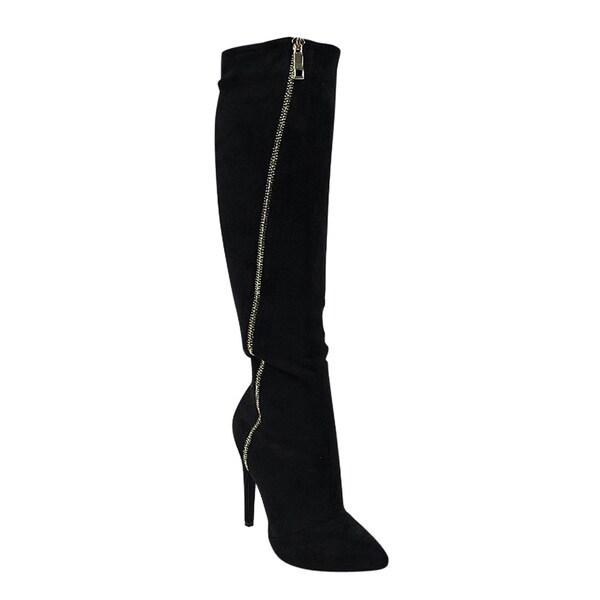 Liliana GF15 Women's Pointy Toe Zip-up Stiletto Heel Knee-High Faux Suede Boots