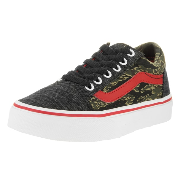 Vans Kids Old Skool True White Camo & Denim Skate Shoe