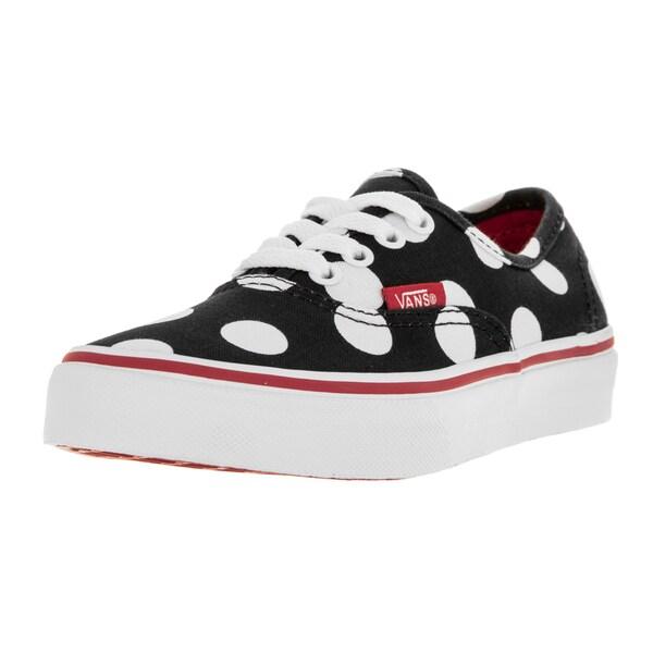 Vans Kids Black/Red/White Canvas Polka Dot Skate Shoe