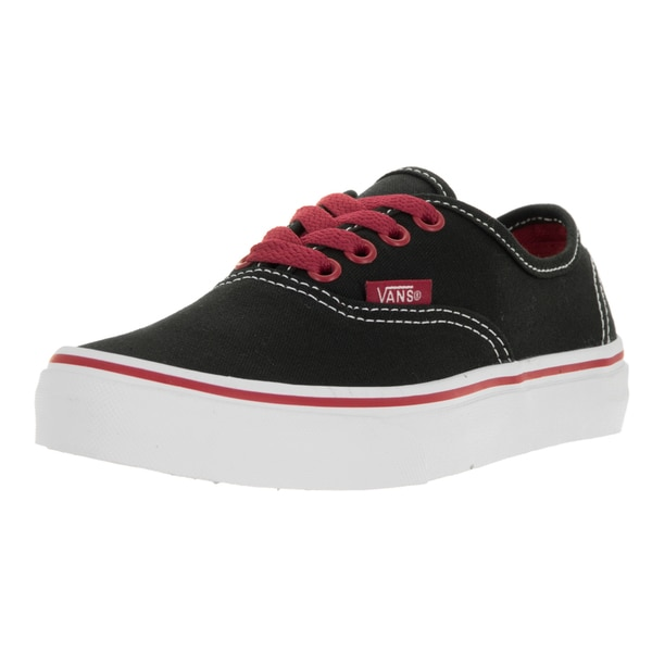 Vans Kids' Pop Authentic Black, White, and Red Canvas Skate Shoes
