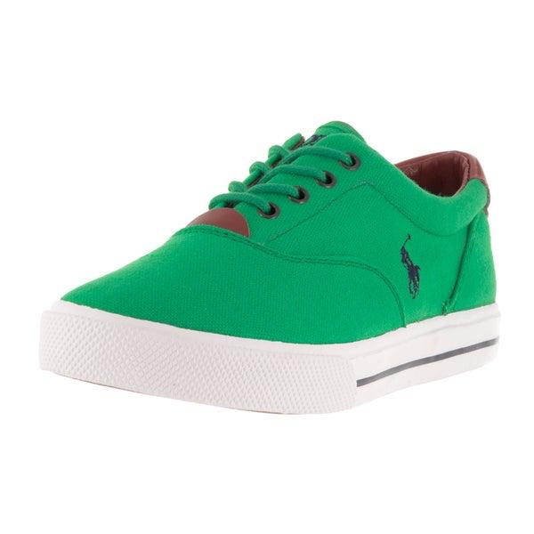 Polo Ralph Lauren Kids' Vaughn Tillar Green Canvas Casual Shoes