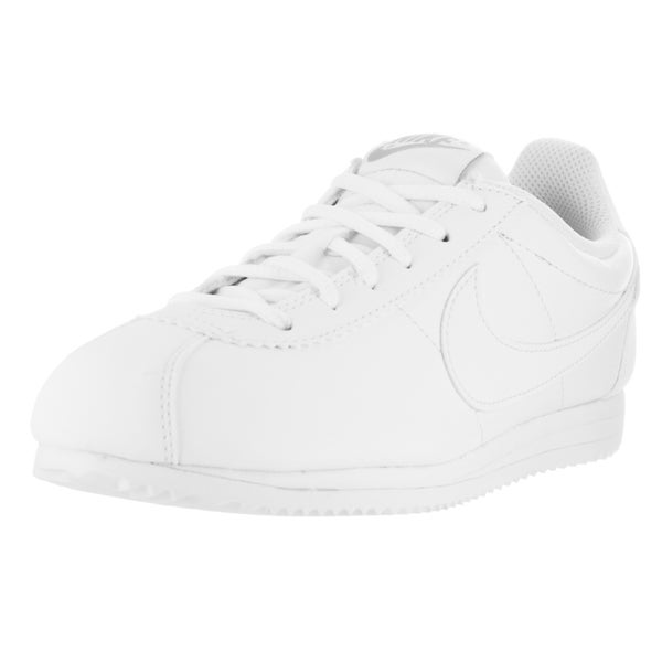 Nike Kids Cortez White/Wolf Grey Leather Casual Shoe