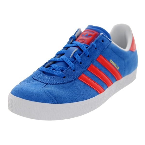 Adidas Kids' Gazelle 2 J Originals Blue, Red, and White Suede Casual Shoes