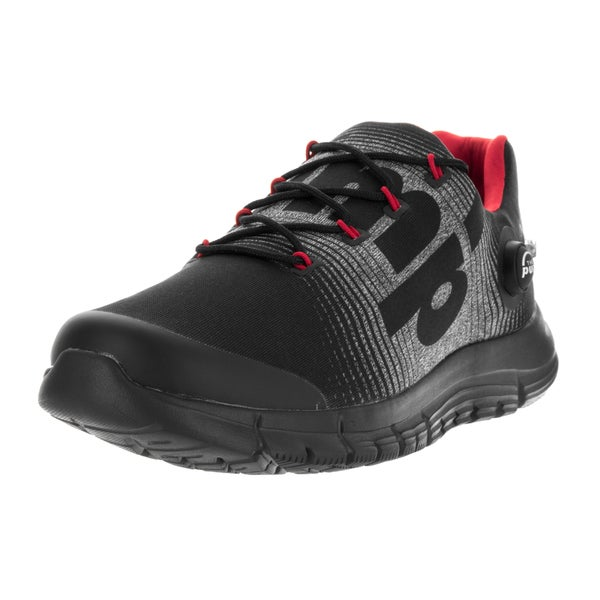 Reebok Men's 'ZPump Fusion LE' Black, Grey, Red, Silver, and White Fabric Running Shoes