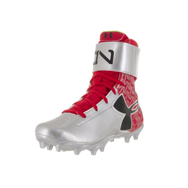 Under Armour Kids' UA C1N MC Jr. Red, Silver, and Black Plastic Football Cleats