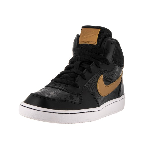 Nike Kids' Court Borough Mid Black, Metallic Gold, and White Synthetic Leather Basketball Shoes