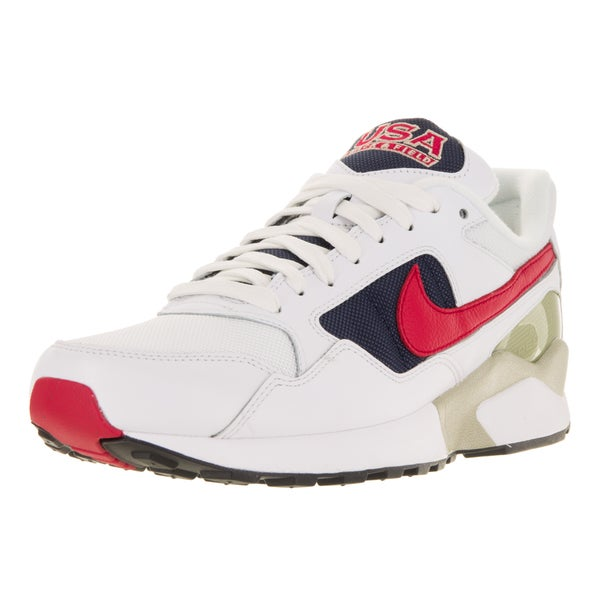 Nike Men's Air Pegasus '92 Premium White, University Red, and Midnight Navy Leather Running Shoes