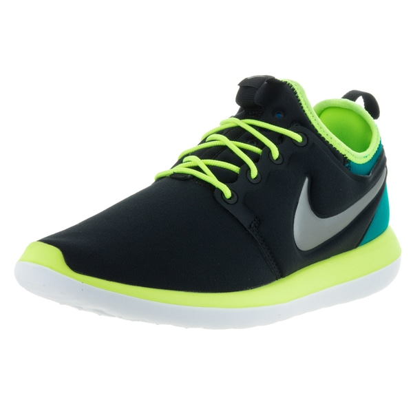 Nike Kids' Roshe Two Black, Metallic Pewter, Volt, and Teal Textile Running Shoes