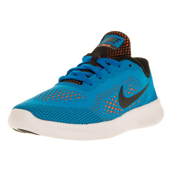 Nike Kids' Free Run (PS) Photo Blue, Black and Orange Running Shoe