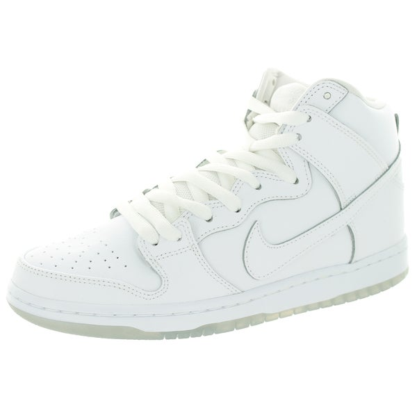 Nike Men's Dunk High Pro SB White/White/Lt Base Grey Leather Skate Shoe 22194362