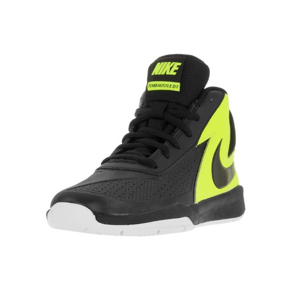 Nike Kids Team Hustle D 7 (PS) Black/Black Volt/White Basketball Shoe