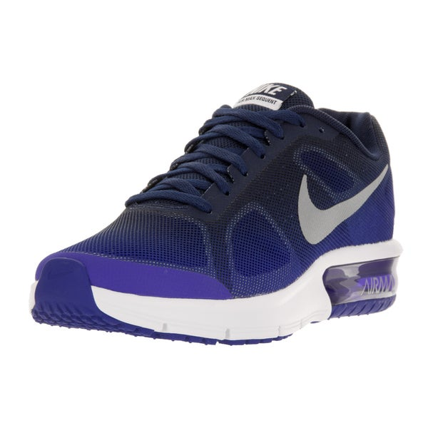 Nike Kids' Air Max Sequent (GS) Blue, Purple, and White Plastic Running Shoes