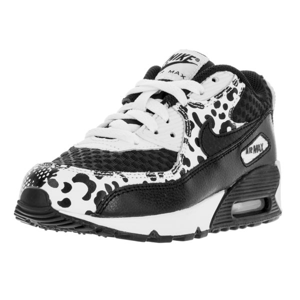 Nike Kids Air Max 90 Black and White Synthetic Leather Running Shoes