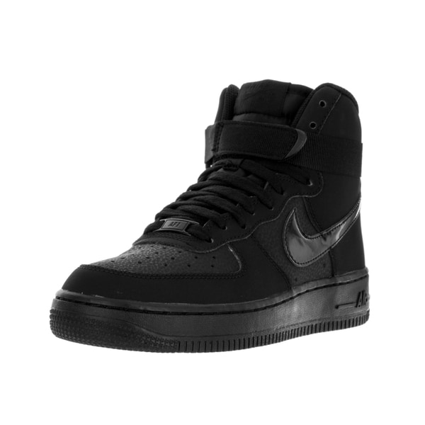 Nike Kids Air Force 1 Black Leather High-top Basketball Shoes