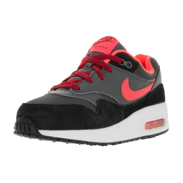 Nike Kids' Air Max 1 (PS) Dark Grey, Lava, Red, and Black Suede Running Shoes