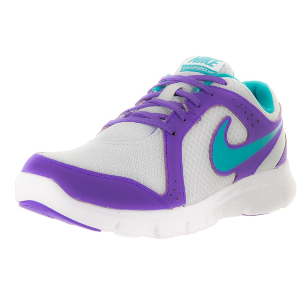 Nike Kids' Flex Experience Pure Platinum, Green, White, and Purple Synthetic Running Shoes