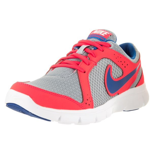 Nike Kids' Flex Experience Wolf Grey, Military Blue, and Laser Crimson Synthetic Running Shoes