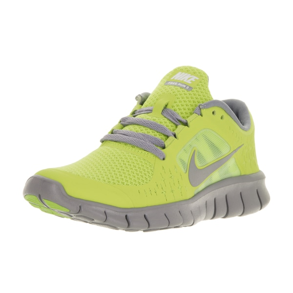 Nike Kids' Free Run 3 Cyber/ Reflective Silver/ Stealth/ White Synthetic Running Shoes
