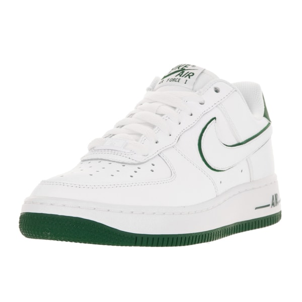 Nike Kids Air Force 1 GS White/White/Gorge Green Leather Basketball Shoes
