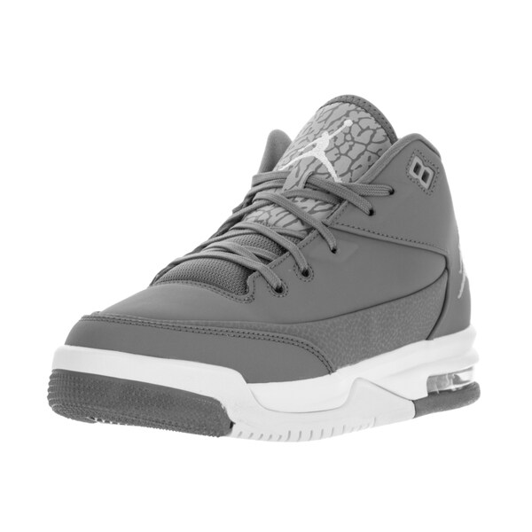 Nike Jordan Kids' Jordan Flight Origin 3 Cool Grey, Metallic Silver, and White Basketball Shoes