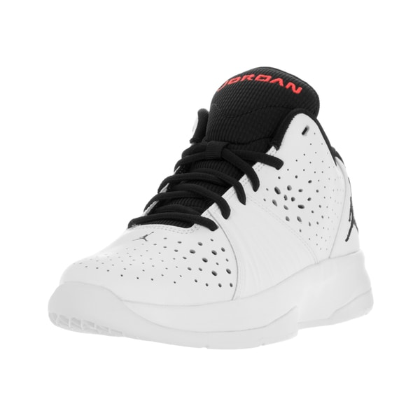 Nike Jordan Kids White/Black/Red Synthetic Leather High-top Basketball Shoe