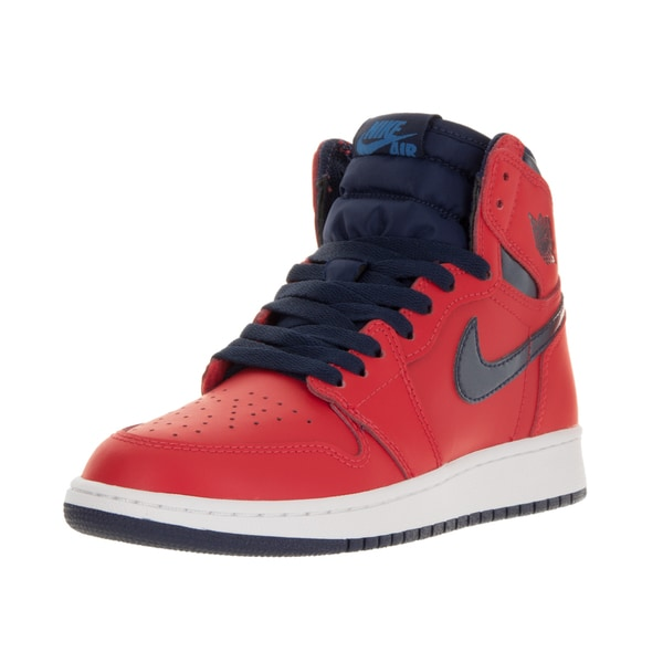 Nike Jordan Kids' Air Jordan 1 Retro High Red and Navy Blue Leather Basketball Shoes
