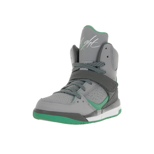 Nike Jordan Kids Jordan Flight 45 High GP Cement/Grey/White Dark Grey/Green Glow Basketball Shoe