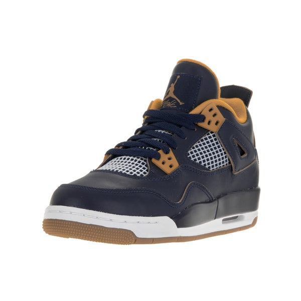 Nike Jordan Kids Air Jordan 4 Blue Leather Retro High-top Basketball Shoes
