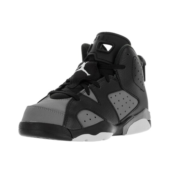 Nike Jordan Kids' Jordan 6 Retro Black, White, and Grey Nubuck Basketball Shoes
